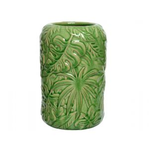 porcelain planter with leaves
