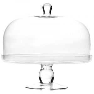 CLEAR GLASS CAKE STAND WITH LID