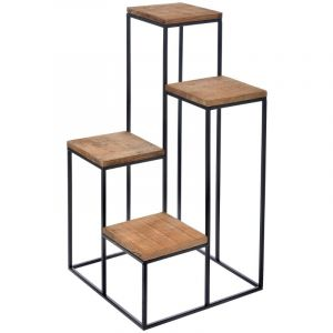 METAL STAND  WITH WOODEN SHELVES