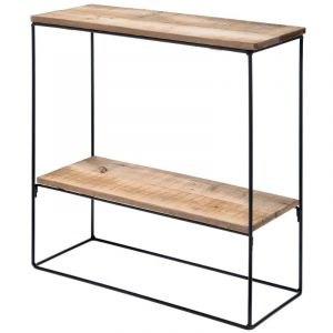 METAL CONSOLE  WITH WOODEN SHELVES