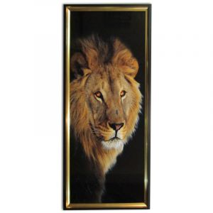 GLOSSY CANVAS PRINT LION WITH FRAME
