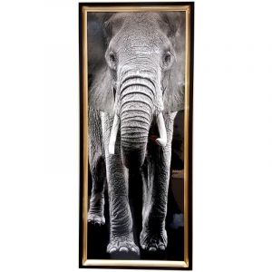 GLOSSY CANVAS PRINT ELEPHANT WITH FRAME