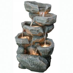 POLYRESIN OUTDOOR FOUNTAIN WITH LIGHTS