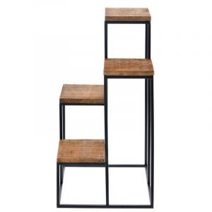 METAL STAND WITH WOOD SHELVES