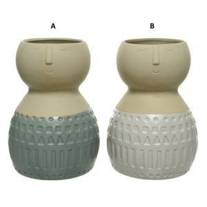 Dolomite vase with face
