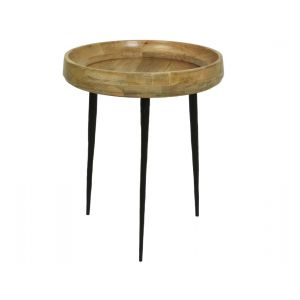 Iron deco table with mango wood top