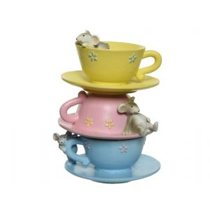 poly teacups tower with mice