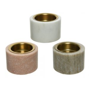 Marble tealightholder with golden cup inside