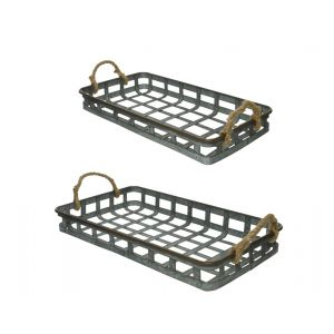 Iron basket rectangle with rope handles