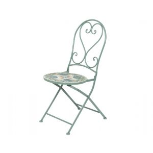 Cancun chair iron with mosaic tiles green-taupe