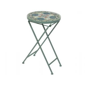Cancun deco table iron with mosaic tiles green-taupe
