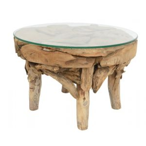 teak root table w glass top