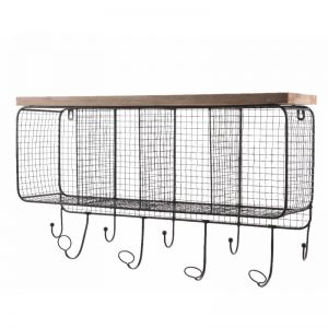 Iron wall rack with hooks