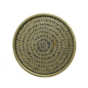 Iron deco plate with glass mosaic