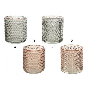 Glass tealight holder in 4 designs