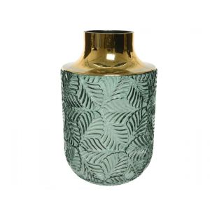 Glass vase with leaf pattern and gold