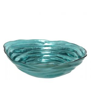 Recycle glass bowl with metallic finish