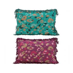 Cotton cushion with leopard pattern